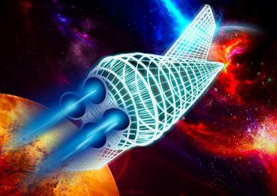 Abstraktes Raumschiff über Planeten