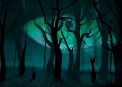 Dunkler Wald ohne Blätter, großes Auge im Hintergrund